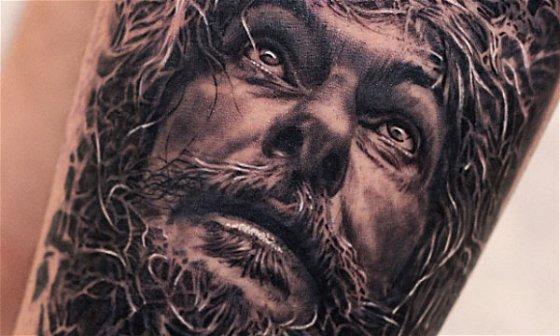 Old Man Christ Portrait Tattoo