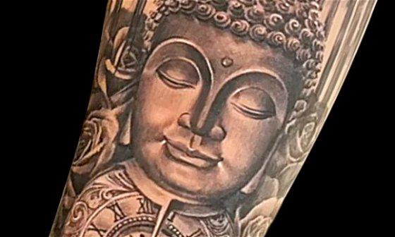 Buddha, Roses & Pocket Watch Tattoo