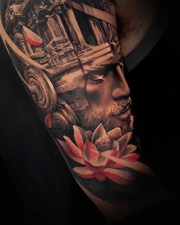 Advanced Realism Portrait: Double Exposure Shiva Tattoo