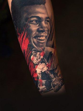 Realistic Portrait Tattoo of Muhammad Ali