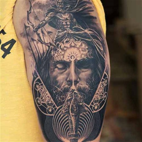 Making Double-exposure style Lord Arjuna Tattoo