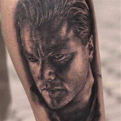 Realistic Leonardo Di Caprio Portrait Tattoo