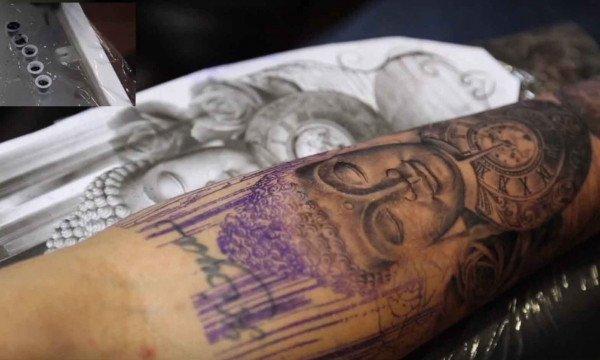Buddha, Roses and Pocket Watch Tattoo 7