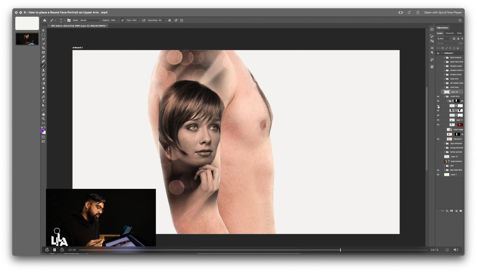 How to place a Round Face Portrait on Upper Arm