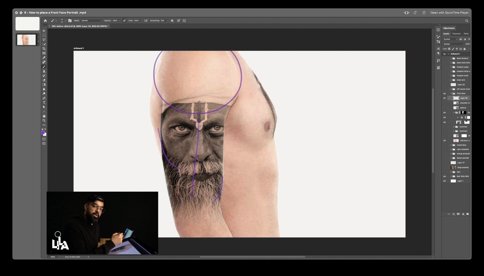 How to place a Front Face Portrait