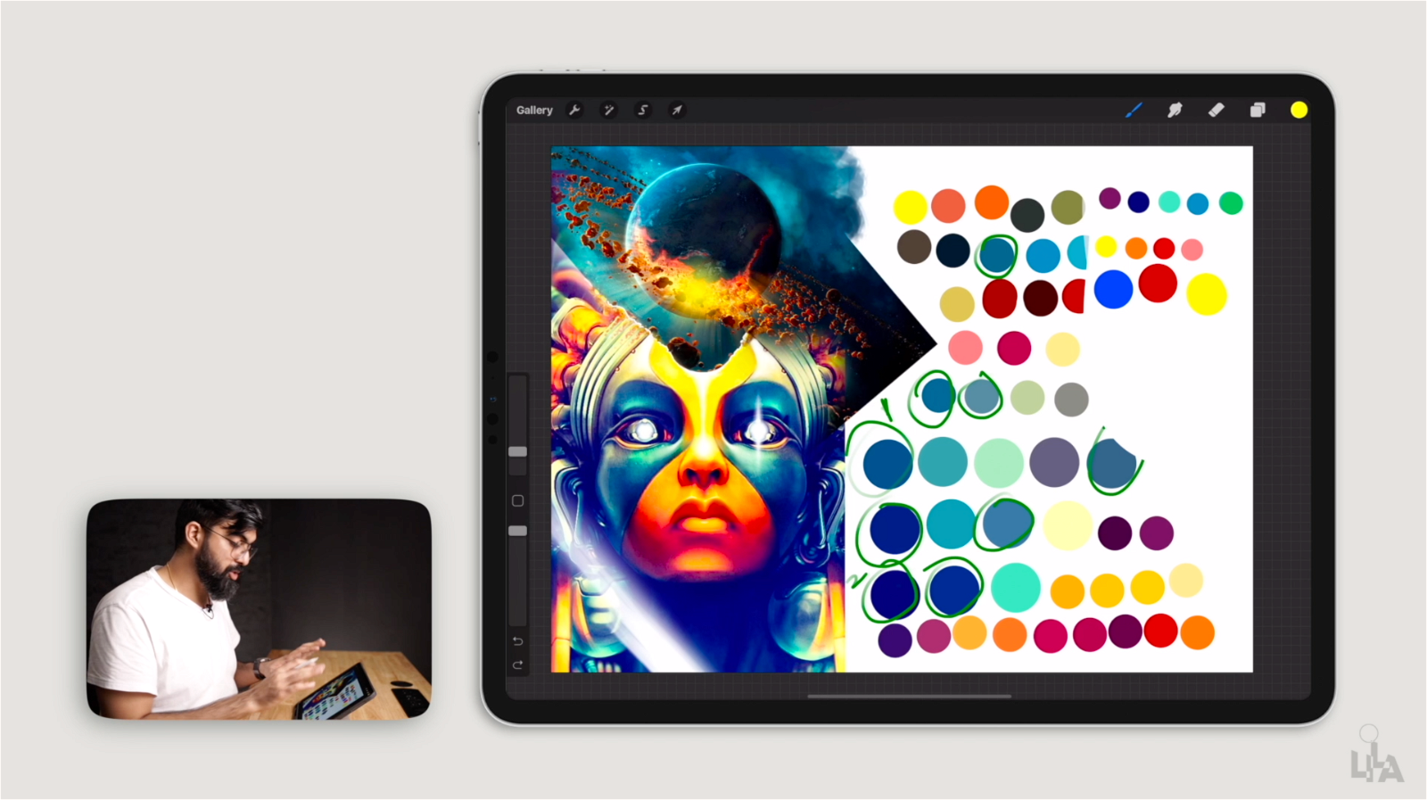 How to extract colour palette from the Design Reference using Procreate