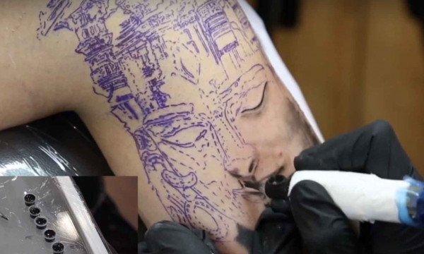 Tattooing the Shiva Forehead