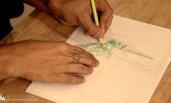 Making a Rough Sketch of the Custom Trishul Design
